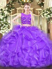 Scoop Sleeveless Tulle Sweet 16 Dress Beading and Ruffles Zipper