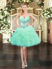 Amazing Mini Length Lace Up Prom Party Dress Apple Green for Prom and Party with Beading and Ruffles