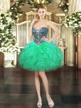 Best Selling Turquoise Prom Dress Prom and Party with Beading and Ruffles Sweetheart Sleeveless Lace Up