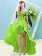 High Low Homecoming Dress Off The Shoulder Short Sleeves Lace Up
