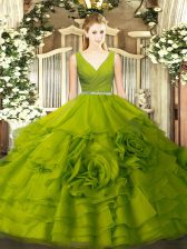 Fabulous Olive Green Ball Gowns Fabric With Rolling Flowers V-neck Sleeveless Beading Floor Length Zipper Quinceanera Gowns