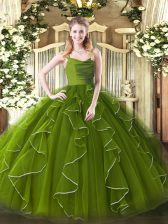 Olive Green Sleeveless Organza Zipper 15th Birthday Dress for Military Ball and Sweet 16 and Quinceanera