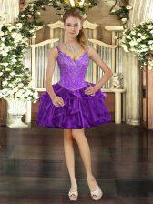 Mini Length Purple Homecoming Dress Organza Sleeveless Beading and Ruffles