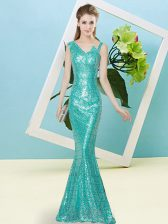 Sequined Asymmetric Sleeveless Zipper Sequins Dress for Prom in Teal