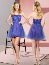 Cute Tulle Sleeveless Mini Length Quinceanera Dama Dress and Beading and Sequins