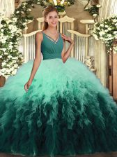 Multi-color Quinceanera Gown Military Ball and Sweet 16 and Quinceanera with Ruffles V-neck Sleeveless Backless