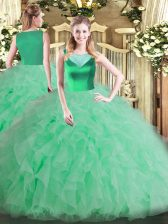 Noble Floor Length Side Zipper Vestidos de Quinceanera Apple Green for Sweet 16 and Quinceanera with Beading and Ruffles