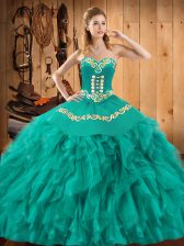 Turquoise Lace Up Sweetheart Embroidery and Ruffles Sweet 16 Dresses Satin and Organza Sleeveless