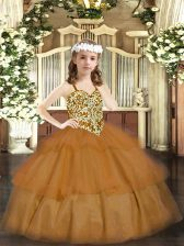 Ball Gowns Evening Gowns Brown Straps Organza Sleeveless Floor Length Lace Up