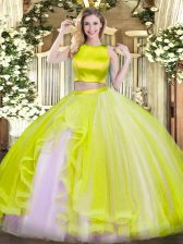 Sleeveless Criss Cross Floor Length Ruffles 15th Birthday Dress