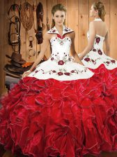 Ball Gowns Sweet 16 Quinceanera Dress Wine Red Halter Top Satin and Organza Sleeveless Floor Length Lace Up