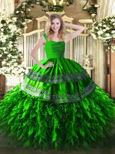 Green Zipper 15 Quinceanera Dress Beading and Lace and Ruffles Sleeveless Floor Length