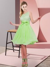 Sleeveless Lace and Bowknot Side Zipper Quinceanera Court of Honor Dress