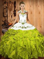 Olive Green Sleeveless Satin and Organza Lace Up Quinceanera Dress for Military Ball and Sweet 16 and Quinceanera