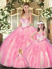 Baby Pink Ball Gowns Organza Sweetheart Sleeveless Beading and Ruffles Floor Length Lace Up Vestidos de Quinceanera