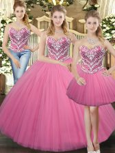 Dynamic Rose Pink Lace Up Sweetheart Beading Quinceanera Dresses Tulle Sleeveless