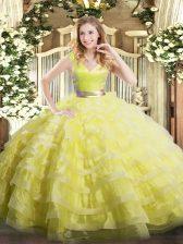Attractive Floor Length Yellow Green Vestidos de Quinceanera Organza Sleeveless Ruffled Layers