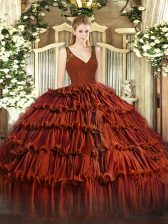 Glamorous Rust Red Organza Zipper V-neck Sleeveless Floor Length Vestidos de Quinceanera Beading and Ruffled Layers