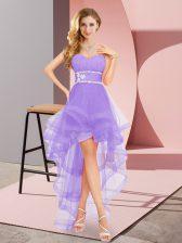 Lavender Lace Up Dama Dress Beading Sleeveless High Low