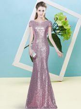 Pink Cap Sleeves Sequins Floor Length Prom Gown