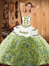 Spectacular Sleeveless Sweep Train Lace Up With Train Embroidery Ball Gown Prom Dress