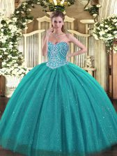 Amazing Turquoise Tulle Lace Up Sweet 16 Dress Sleeveless Floor Length Beading