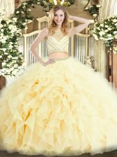 New Arrival Light Yellow Two Pieces Beading and Ruffles Quinceanera Dresses Zipper Tulle Sleeveless Floor Length
