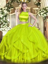 On Sale Sleeveless Tulle Floor Length Criss Cross Sweet 16 Quinceanera Dress in Yellow Green with Ruffles