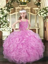 Nice Rose Pink Straps Lace Up Beading and Ruffles Kids Formal Wear Sleeveless