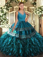 Blue Sleeveless Beading and Appliques and Ruffles Floor Length Quinceanera Gown