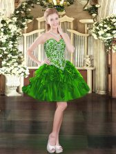 Great Mini Length Lace Up Prom Gown Green for Prom and Party with Beading and Ruffles