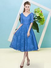 Simple Empire Court Dresses for Sweet 16 Blue V-neck Lace Half Sleeves Tea Length Lace Up