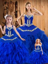 Ball Gowns Quinceanera Dresses Royal Blue Sweetheart Tulle Sleeveless Floor Length Lace Up