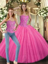 Fabulous Sleeveless Tulle Floor Length Lace Up Quinceanera Dresses in Hot Pink with Beading