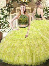 Enchanting Sleeveless Zipper Floor Length Beading and Ruffled Layers Quinceanera Dresses