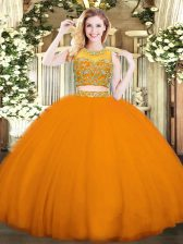 Smart Orange Red Zipper Quinceanera Dresses Beading Sleeveless Floor Length