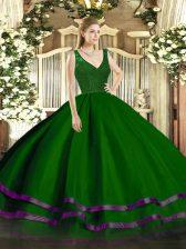 Best Selling Floor Length A-line Sleeveless Green Quince Ball Gowns Zipper