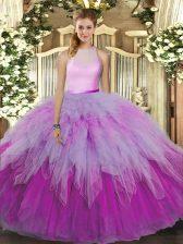 Multi-color Ball Gowns Organza High-neck Sleeveless Ruffles Floor Length Backless 15th Birthday Dress