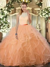 On Sale High-neck Sleeveless Backless Sweet 16 Quinceanera Dress Peach Tulle