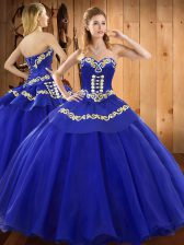 Blue Sweetheart Lace Up Embroidery Sweet 16 Dresses Sleeveless