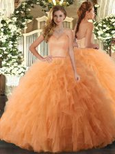 Sleeveless Tulle Floor Length Lace Up Ball Gown Prom Dress in Orange with Ruffles
