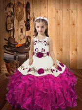 Discount Organza Straps Sleeveless Lace Up Embroidery and Ruffles Little Girl Pageant Gowns in Fuchsia