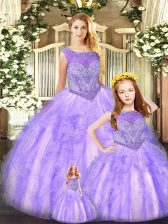 Lavender Ball Gowns Beading and Ruffles Quince Ball Gowns Lace Up Organza Sleeveless Floor Length