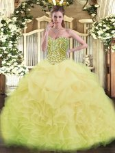 Asymmetrical Yellow Green Quinceanera Gowns Sweetheart Sleeveless Lace Up