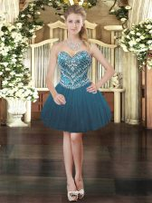 Clearance Teal Sleeveless Tulle Lace Up Prom Dresses for Prom and Party