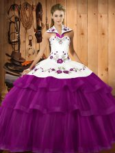 Dazzling Sleeveless Embroidery and Ruffled Layers Lace Up 15 Quinceanera Dress with Eggplant Purple Sweep Train