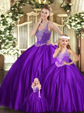 Graceful Purple Straps Neckline Beading Sweet 16 Quinceanera Dress Sleeveless Lace Up