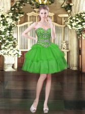 Green Sweetheart Neckline Beading and Ruffled Layers Evening Dress Sleeveless Lace Up