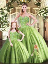 Custom Designed Olive Green Sweetheart Neckline Beading Vestidos de Quinceanera Sleeveless Lace Up