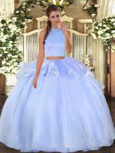 Super Light Blue Organza Backless Halter Top Sleeveless Floor Length 15 Quinceanera Dress Beading